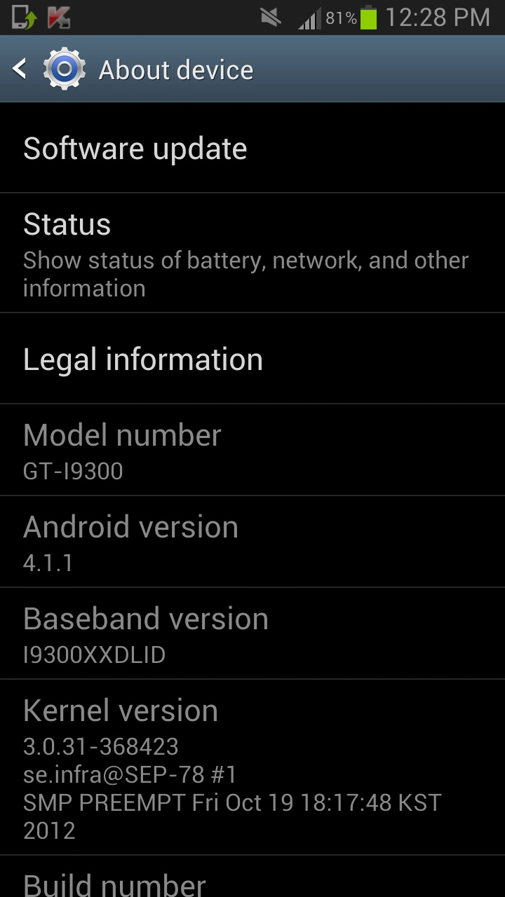Jelly bean update for Samsung Galaxy S3 unlocked version