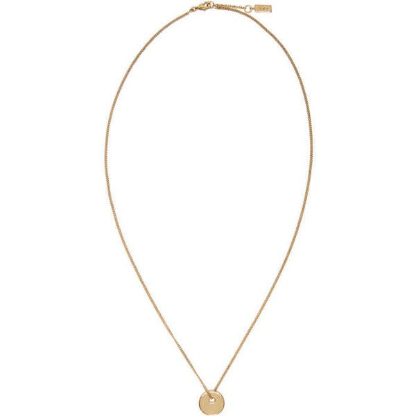 A.P.C. Gold Serge Necklace ($98) ❤ liked on Polyvore featuring men's fashion, men's jewelry, men's necklaces, gold, mens gold curb chain necklace, mens circle pendant necklace, mens curb chain necklace, mens pendant necklace and mens gold necklace