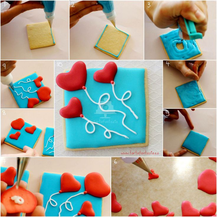 Galleta decorada con glasa de tarta fantasia