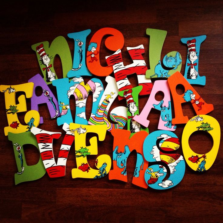 Hanging Wooden Hand Painted Dr Seuss Letters by CuteNCustom, $20.00