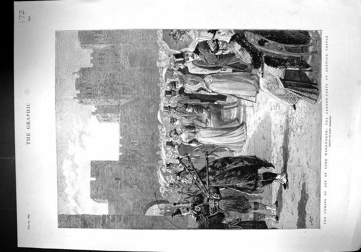 Antique Print of 1892 Lord Warkworth Garden-Party Alnwick Castle Bousfield Conse