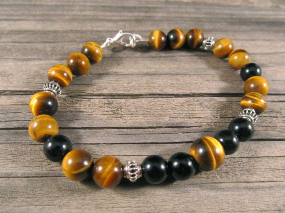 Mens Black Onyx and Golden Tigers Eye Bracelet in Sterling Silver with Silver Bali Beads on Etsy, $27.45