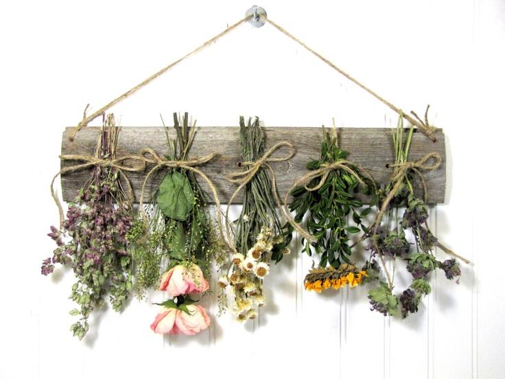 Dried Flower Rack, Dried Floral Arrangement, Wall Decor, Dried Flowers, Country, Rustic, Primitive Decor. $27.00, via Etsy.