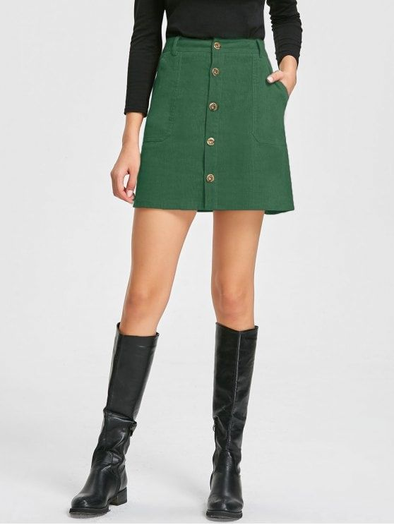 c8b50ce881 Shop for Patch Pockets A-line Corduroy Skirt GREEN: Skirts XL at ZAFUL.  Only $13.71 and free shipping!