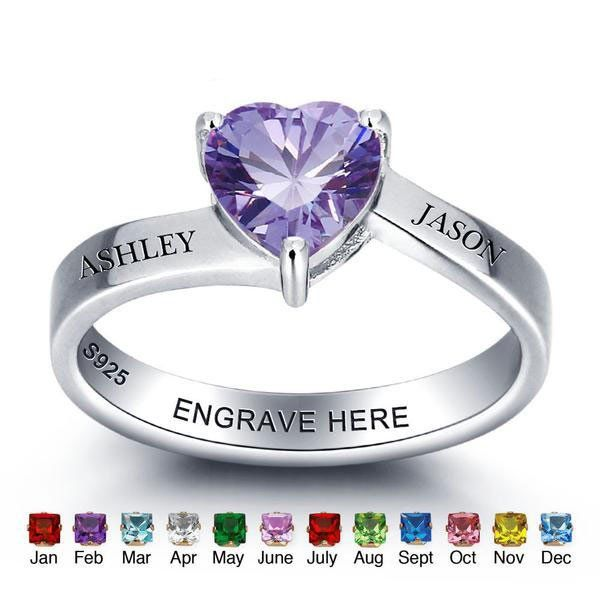 Personalized Names Love Heart Birthstone Promise Rings
