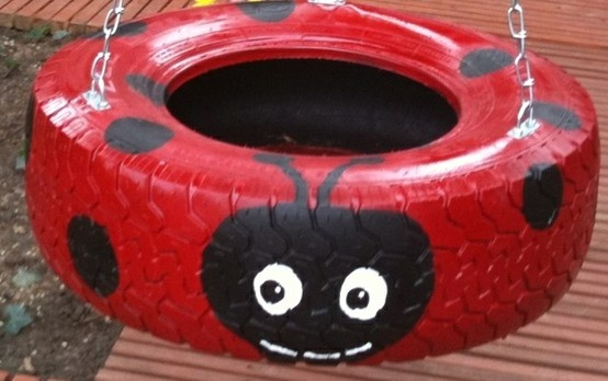 Make your own tire swing :) Love how this was painted. Here's the details how to make it http://www.instructables.com/id/How-to-make-a-tire-swing/?ALLSTEPS