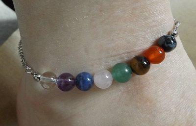 Chakra Anklet  gemstone beads adjustable chain by WellnessMerchant