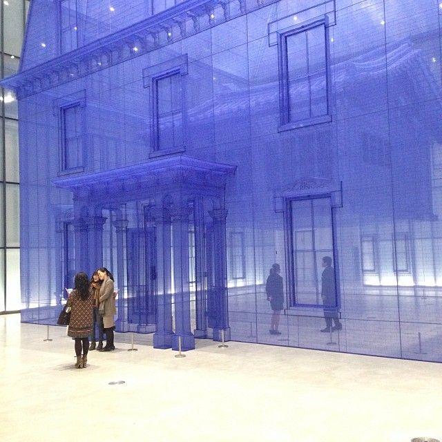 """""""Home Within Home Within Home Within Home Within Home"""" (집 속의 집 속의 집 속의 집 속의 집), and it's the largest work by Korean artist Do-Ho Suh (서도호) to date. Made to scale out of layers of translucent blue silk"""