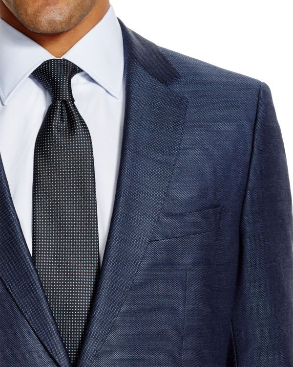 Boss Hugo Boss makes a clean modern statement with this striking pindot suit. | Virgin wool | Dry clean | Made in Germany | Sport coat: notch lapel, pick stitching details, chest pocket, two front fla