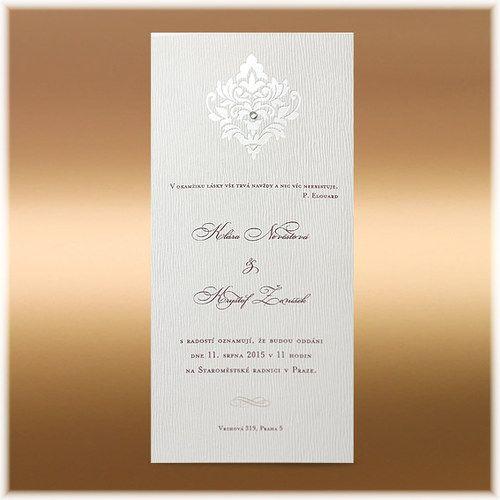 Luxusní svatební oznámení s lesklým ornamentem