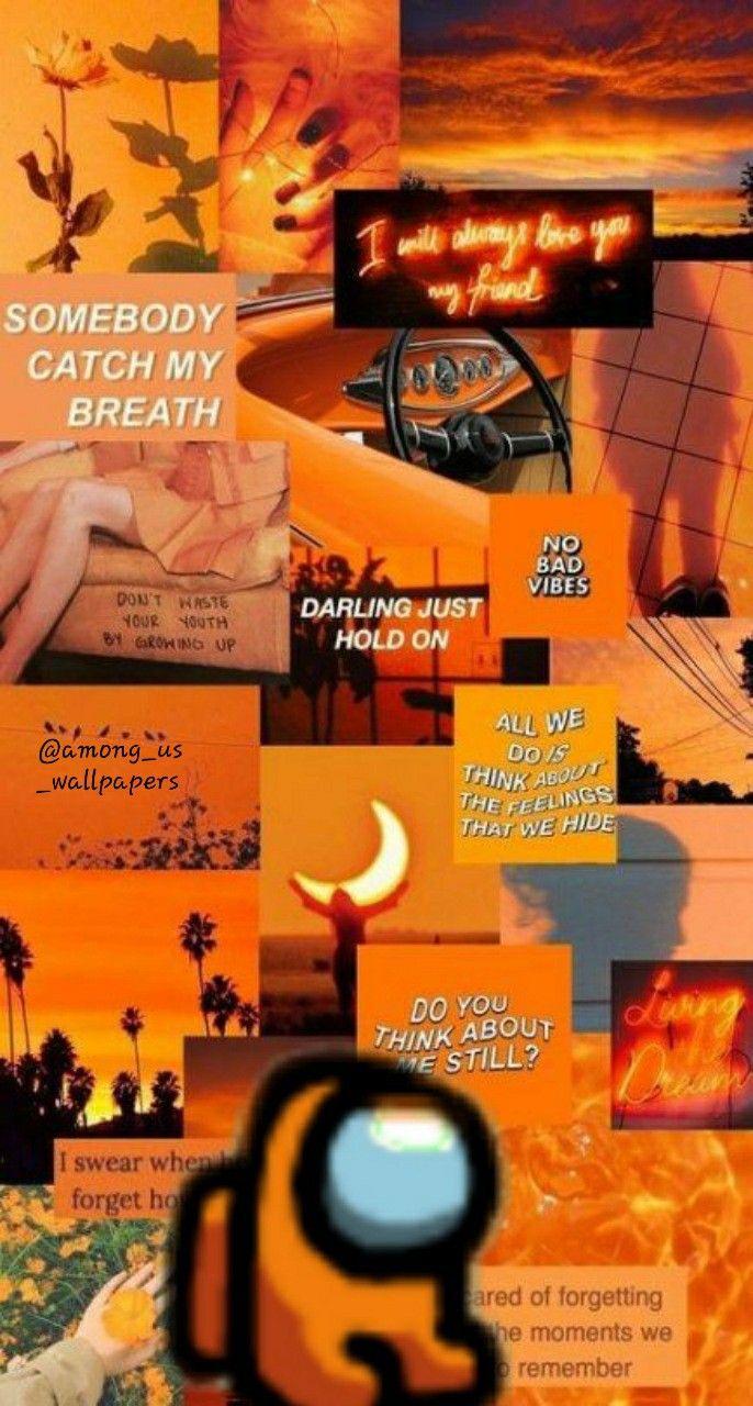 Orange Among Us Wallpapers Orange Wallpaper Orange Aesthetic Iphone Wallpaper Tumblr Aesthetic