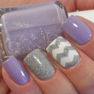 Silver Chevron Design. Nails. Fashion. Nail Art. Nails Art. Nail Polish. Nail Design. Style. Purple, glitter, Essie.