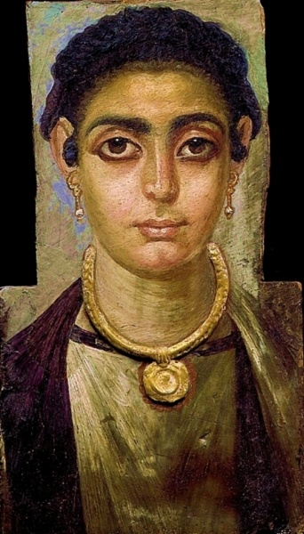 Egyptian Mummy Portrait: Head of a Woman 130 - 160 AD Painting  Long before realistic portrait painting developed in Europe in the Renaissance, Roman-Egyptian artists did striking likenesses in wax on limewood.  Dating from the later period of Roman rule in Egypt, shortly before the birth of Christ, the painted mummy portraits are among the most remarkable products of the ancient world, a fusion of the traditions of pharonic Egypt and the Classical world.