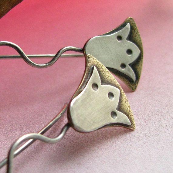 Stylized Egyptian Lotus Earrings - Bronze And Sterling Silver Mixed Metal Flower Earrings - Ethnic Artisan Metalwork  Jewelry