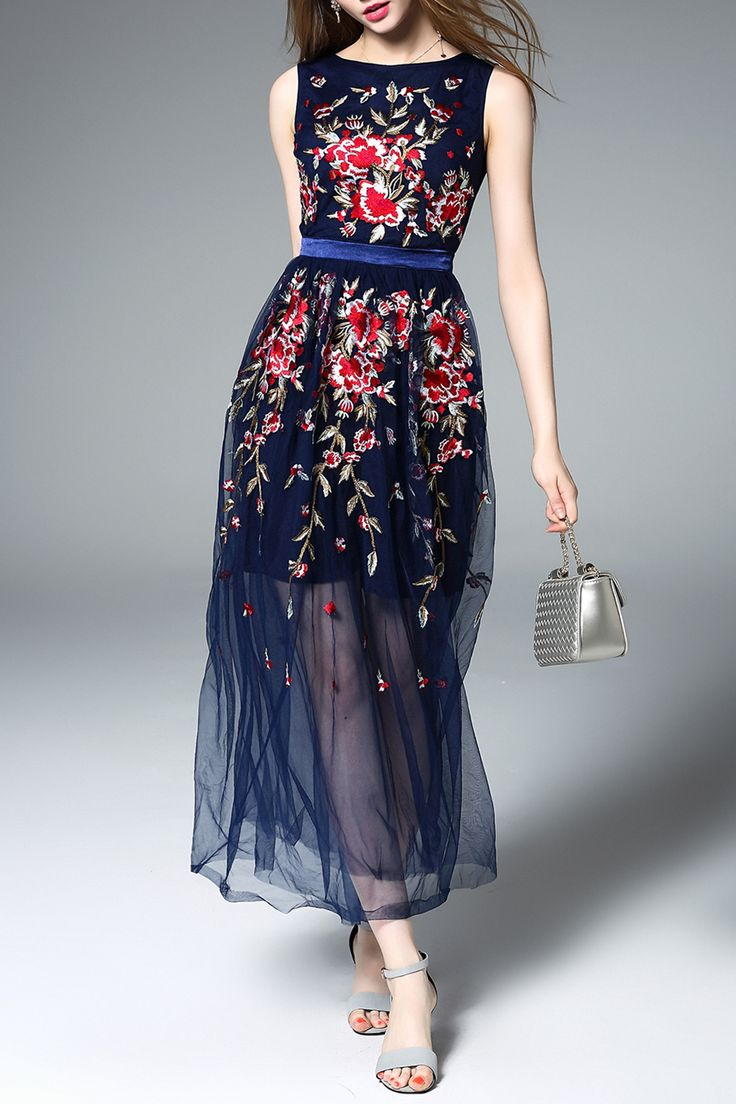 Embroidered Floral Tulle Dress