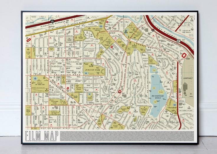 Film Map - by DorothyMovie Maps, Jurassic Park, Film Title, Film Maps, Street Maps, Graphics Design, Dorothy, Los Angels, Reservoir Dogs