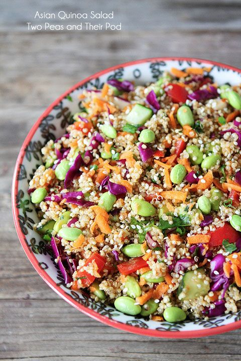 Asian Quinoa Salad Recipe on twopeasandtheirpo... Healthy, colorful, and delicious! LOVE this easy salad!