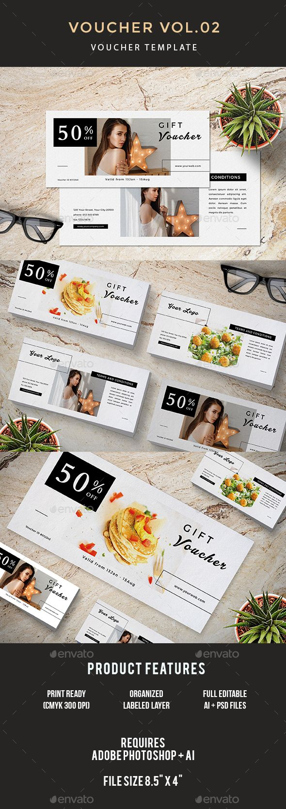 Voucher — Photoshop PSD #voucher discount #fashion gift voucher • Download ➝ https://graphicriver.net/item/voucher/20032613?ref=pxcr