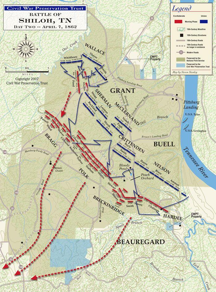 Civil War Battle Of Shiloh Second Day Map Jpg