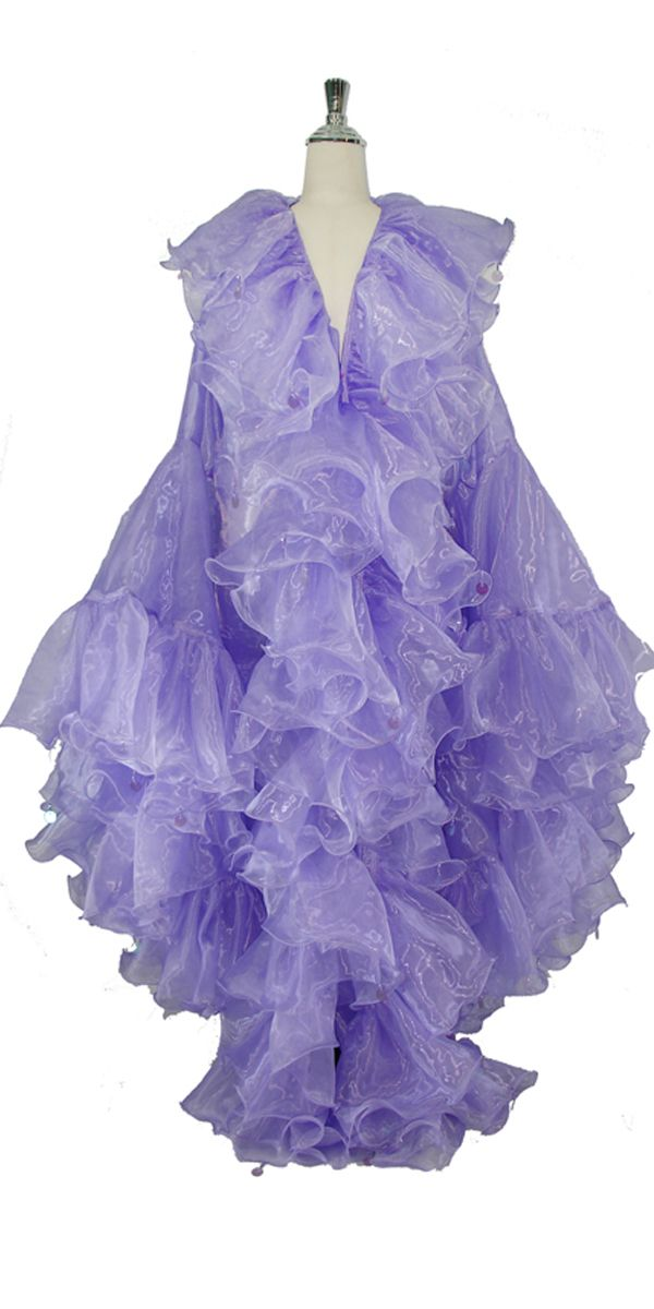 Long Organza Ruffle Coat with Oversized Sleeves and Highlight Sequins in Purple.