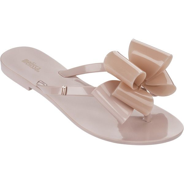 Melissa Harmonic Twin Bow Blush ($71) ❤ liked on Polyvore featuring shoes, sandals, flip flops, melissa shoes, metallic shoes, rose gold sandals, metallic sandals en bow shoes