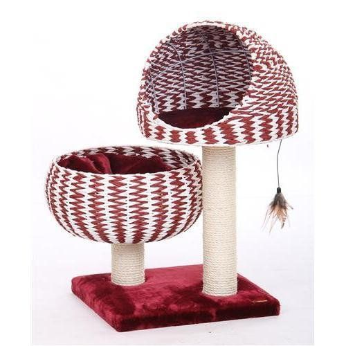 Sivart Vault PP3298 BLAZE - Paper Rope Half Dome Perch w/Plush Bowl Lounger for Cat ** For more information, visit now : Cat Tree
