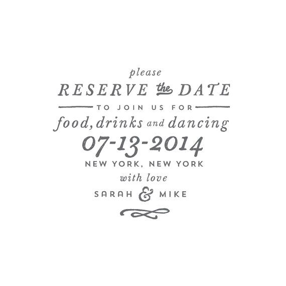 Reserve // Save The Date Stamp, Customizable, DIY wedding.
