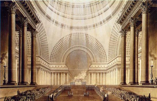 Boullée describes it as the basilica or metropolitan church of Corpus Christi Day, as he says: a house of holiness inhabited by the worthiest ministers of religion. The scenic effect is obvious in the interior perspective drawing: the light at the altar, around the cross, the priest in ecstasy, the faithful ascending the stairs and kneeling in contemplation of the miracle of the Eucharist.