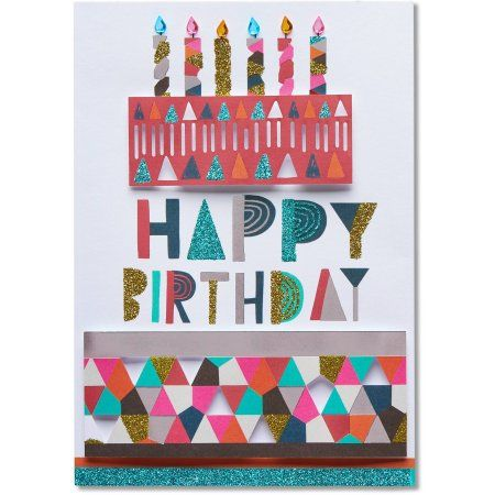 American Greetings Cake Birthday Card with Rhinestones, Assorted