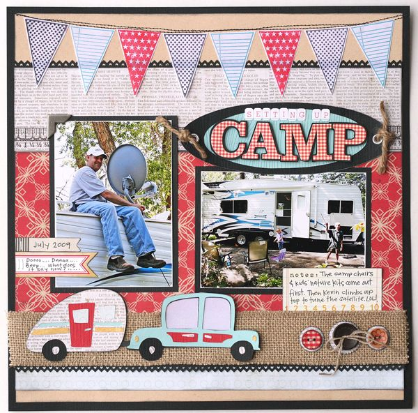 """Setting up camp"" layout made with the Pack Your Bags cartridge! This is the perfect layout for summer! #Cricut: Cricut Scrapbook, Scrapbook Ideas, Scrapbook Cards, Scrapbook Camps, Camps Layout, Bags Cartridges, Scrapbook Layout, Jana Eubank, Cricut Cartridges"