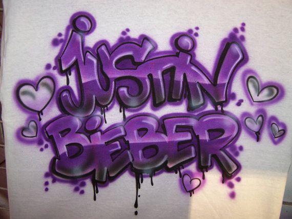 Aerografato justin bieber graffiti style t shirt