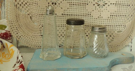 Vintage Glass Containers for Spices Vintage Glass Salt