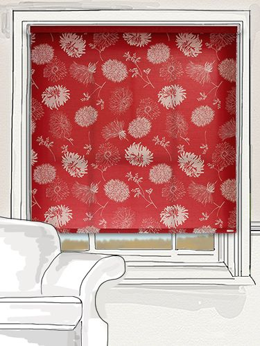 here the deep red background is lightened with the addition of gorgeous flowers printed in white. This roller blind has a wonderful period feel but will also look superb in a more contemporary setting... #floral #roller #blind