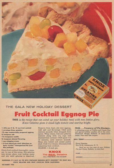 1956 recipe for Fruit Cocktail Eggnog Pie