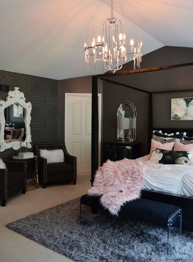 Glam up your bedroom! Ornate mirror and silver mirror both from Home Goods! And so is that gorgeous faux fur pink throw! {Sponsored}