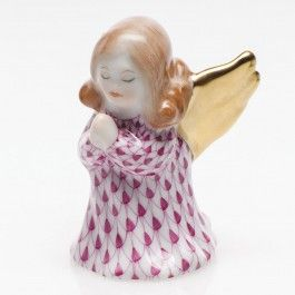 Herend Small Angel Praying - Raspberry