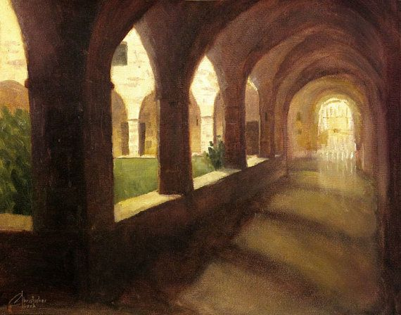 This is an original oil painting for sale by artist Christopher Clark. This scene takes place in a small mission in the city of Castelfranco, near Florence, Italy in the Tuscany region. Wandering down the quiet halls of this mission, with the sunlight streaming in the through arches, was a very calming experience. Own this original oil Tuscany painting today and let a little calming sunlight into your life.