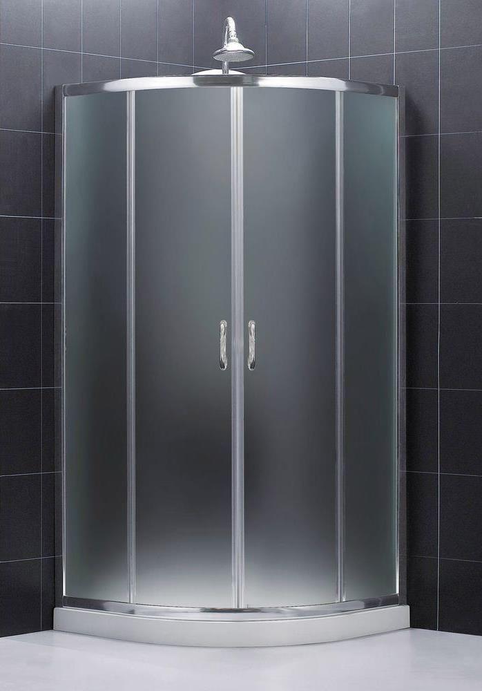 "DreamLine Prime Frameless Sliding Shower Enclosure and SlimLine 38"" by 38"" Quarter Round Shower Tray - Dreamline DL-6703-01FR"