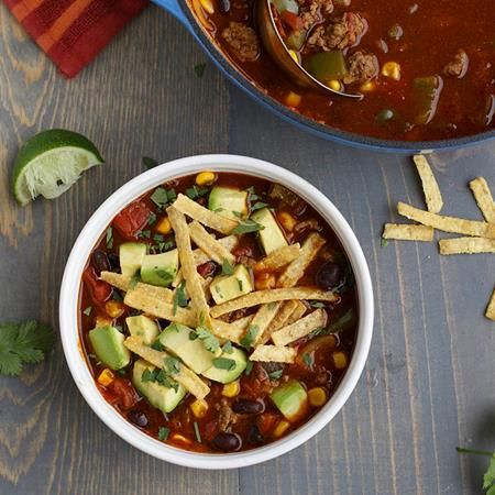 Get the fiesta started – with Ground Beef Tortilla Soup! It's loaded with south-of-the-border flavor thanks McCormick® Original...