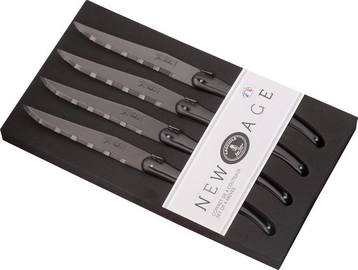 """New Age"" black finish blade steak knives Laguiole Jean Dubost"
