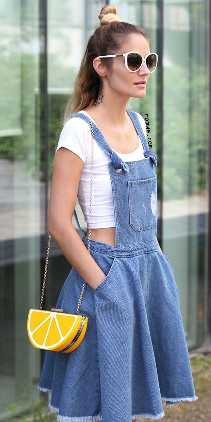 Blue Pockets Fringe Hem Backless Denim Straps Dress