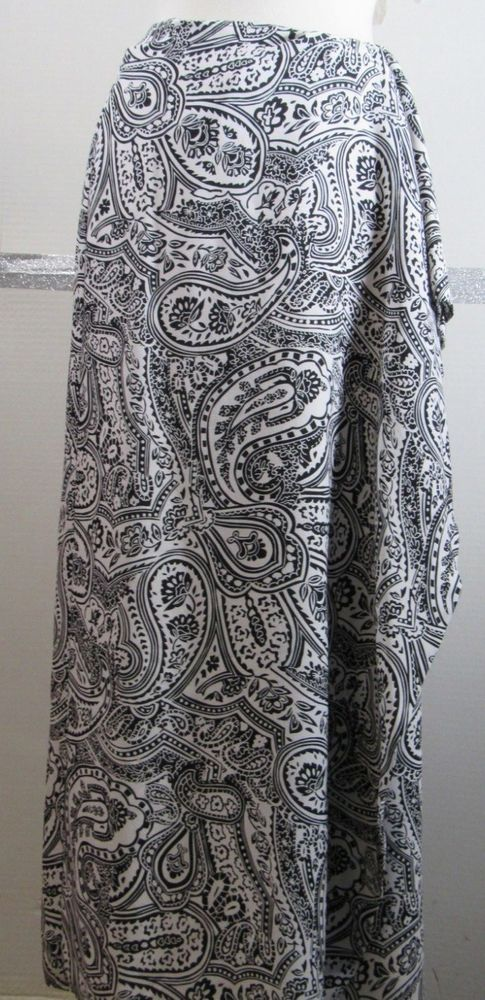 e961e0f24c Talbots Pure Silk Wrap Skirt Size 12 Black White Mod Paisley Floral  Beautiful #Talbots #ShawlWrap #Casual