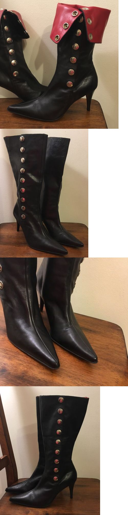 clothing and accessories: Women S Lady Shoes Black Leather Boots Made In Italy Size 6.5 -> BUY IT NOW ONLY: $35.98 on eBay!