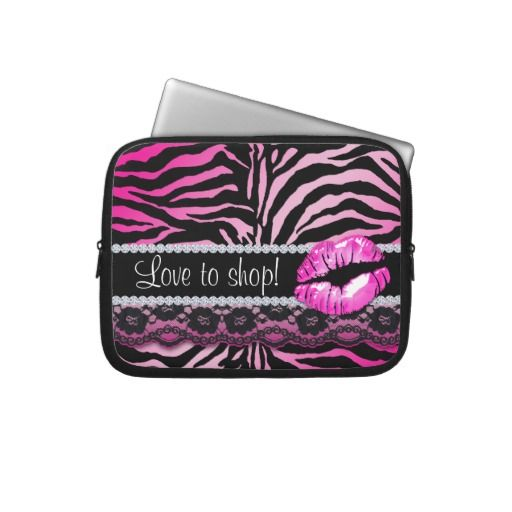 Zebra Lace Lips Print laptop sleeve Pink