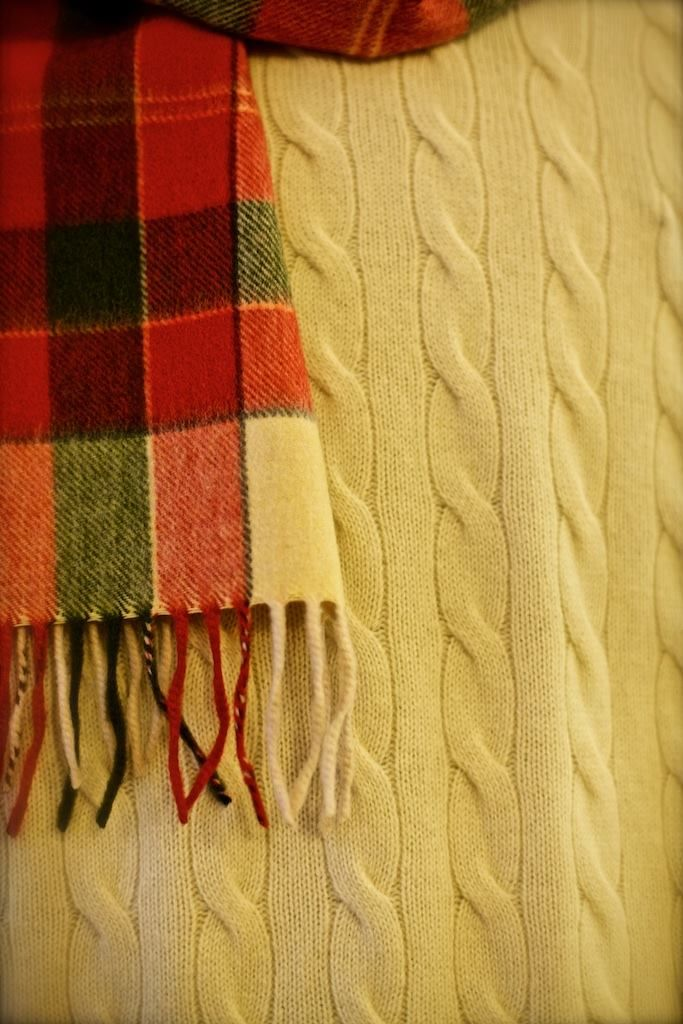 We have a beautiful selection of scarves to mix and match with our Australian merino wool cable knit jumpers.