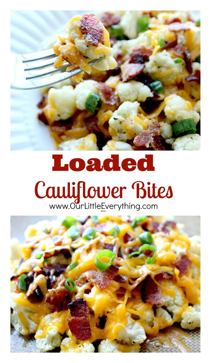 Loaded Cauliflower Bites are a delicious ow carb alternative to potato skins or loaded french fries.  They are so good, you won't even miss the carbs!
