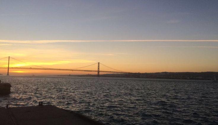 #sunset #portugal #bridge #sun #cacilhas #sea