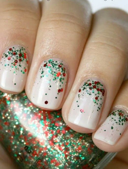 21 Fabulous and Easy Christmas Nail Designs: #18. Simple Glitter Nail Design for Christmas