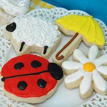 Yellow Kitchen Cookies - Spring Cookies. Lamb cookie, umbrella cookie, ladybug cookie, daisy cookie.