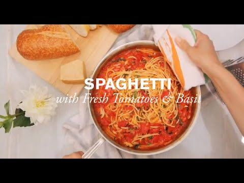 Spaghetti with Tomatoes and Basil--Fresh tomatoes are the star ingredient in this spaghetti recipe. Buy the most flavorful ones you can, and after that everything will be a piece of cake….er, pasta!